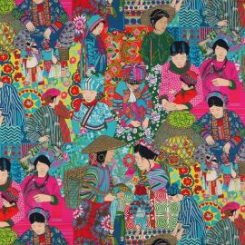 Tissu Voyage en Chine Turquoise - Manuel Canovas