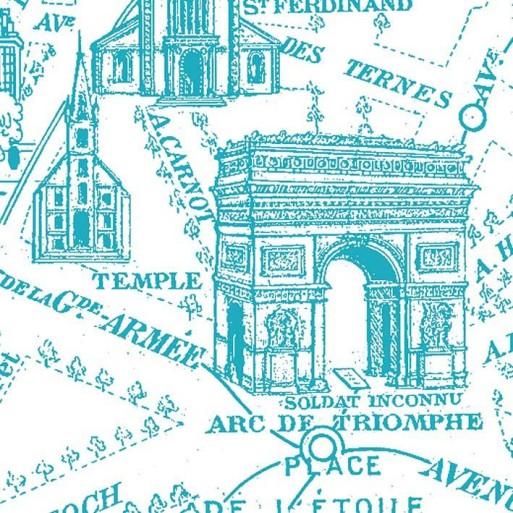 Lé unique Plan de Paris monumental bleu