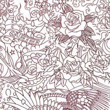 Papier peint Horimono Grenat Jean-Paul Gaultier
