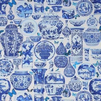 Tissu Jardin Bleu Indigo